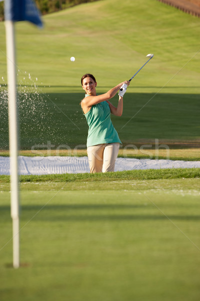 Erkek golfçü oynama atış golf sahası kadın Stok fotoğraf © monkey_business