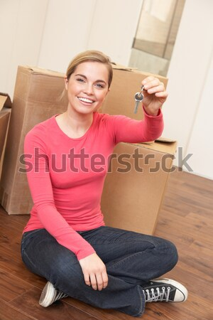 Young woman on moving day sitting on floor among cardboard boxes Stock photo © monkey_business