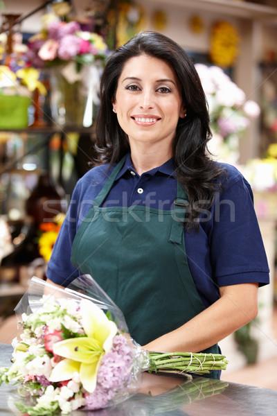 Stock fotó: Spanyol · nő · dolgozik · virágárus · virág · virágok