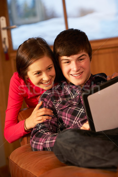 Teenage Couple Relaxing On Sofa With Tablet Computer Stock photo © monkey_business
