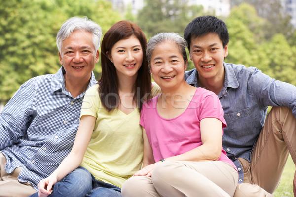 Foto stock: Retrato · chino · padres · adulto · ninos · relajante
