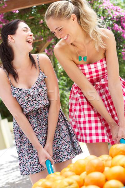 Deux femmes poussant brouette oranges femmes heureux Photo stock © monkey_business
