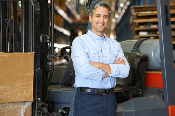 Portrait Of Man With Fork Lift Truck In Warehouse Stock photo © monkey_business
