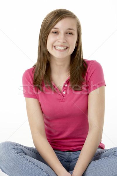 Сток-фото: сидят · студию · девушки · цвета · молодые
