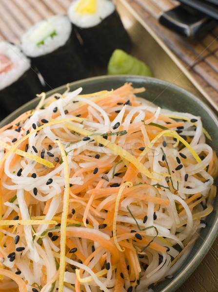 Daikon and Carrot Salad with Sesame Sushi and Wasabi Stock photo © monkey_business