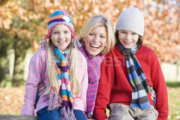 Stock photo: Mother and children on autumn walk