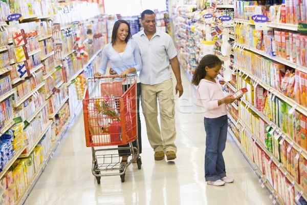 Stockfoto: Familie · kruidenier · winkelen · supermarkt · meisje · man