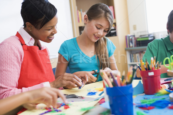 Elementary pupil in art class Stock photo © monkey_business