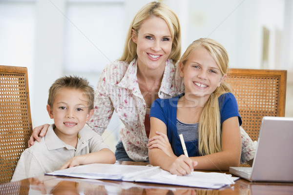 Woman helping two young children with laptop do homework in dini Stock photo © monkey_business