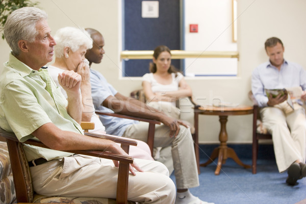 Five people waiting in waiting room Stock photo © monkey_business