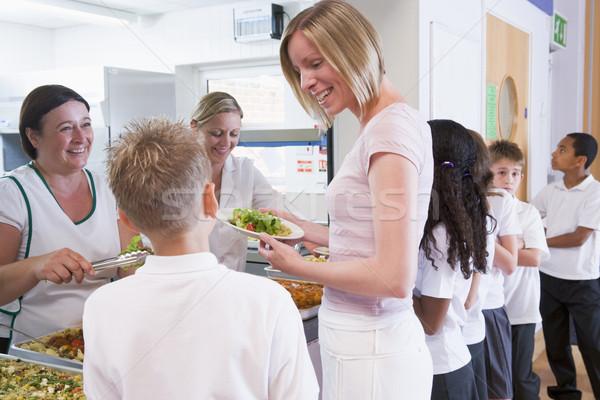 Stock fotó: Tanár · tart · tányér · ebéd · iskola · büfé