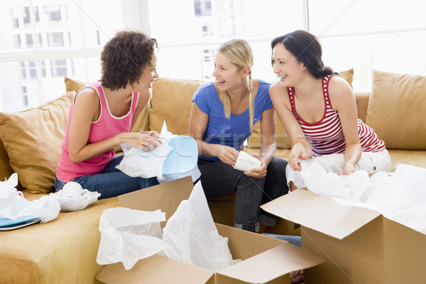 Tres cajas nuevo hogar sonriendo mujer Foto stock © monkey_business
