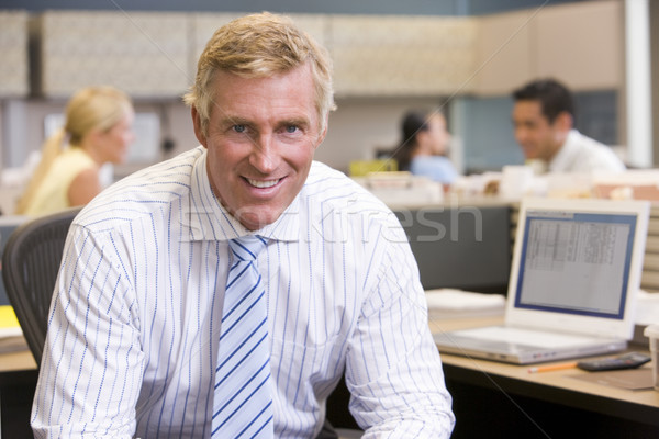 бизнесмен кабина улыбаясь служба человека счастливым Сток-фото © monkey_business