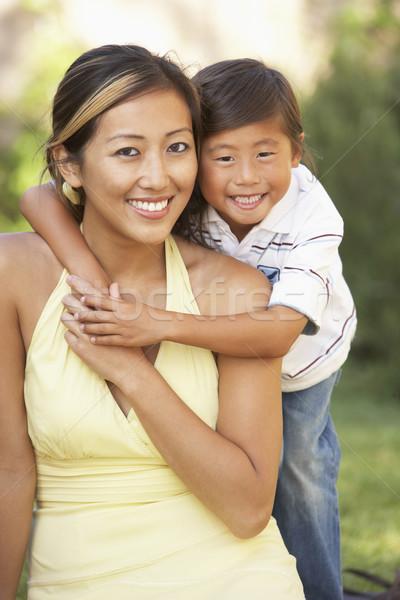 ストックフォト: 母親 · 庭園 · 女性 · 子