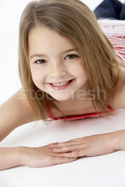 Сток-фото: желудка · студию · девушки · детей · счастливым