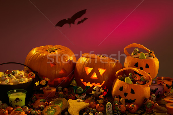 Stock photo: Halloween party decorations with carved pumpkins