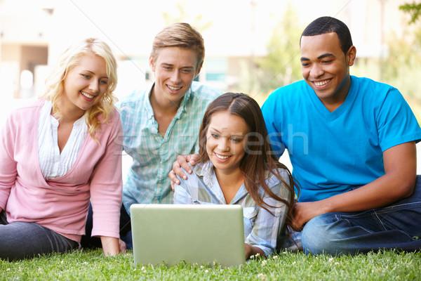 Jovens usando laptop ao ar livre computador grama mulheres Foto stock © monkey_business