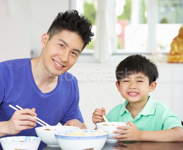 китайский отцом сына сидят домой еды еды Сток-фото © monkey_business