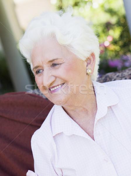Foto stock: Senior · mulher · sessão · fora · jardim · cadeira