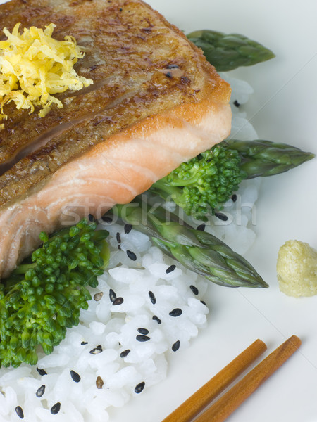 Stock photo: Citrus Salmon Fillet on Rice Steamed Vegetables with Sesame and