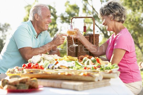 Stockfoto: Paar · dining · voedsel · wijn · tabel