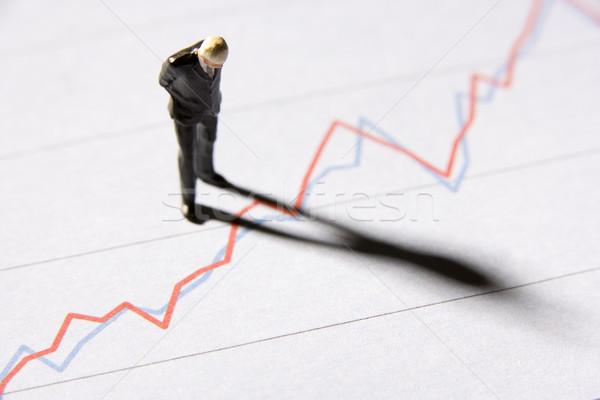 Beeldje zakenman permanente lijn grafiek business Stockfoto © monkey_business