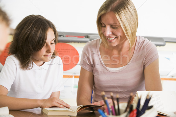 A schoolgirl and her teacher reading a book in class Stock photo © monkey_business