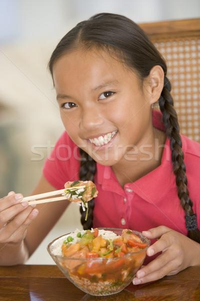 若い女の子 ダイニングルーム 食べ 中国食品 笑みを浮かべて 少女 ストックフォト © monkey_business