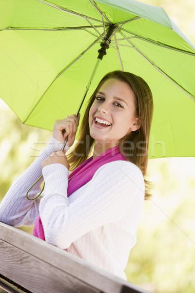 肖像 十代の少女 屋外 ツリー 代 傘 ストックフォト © monkey_business