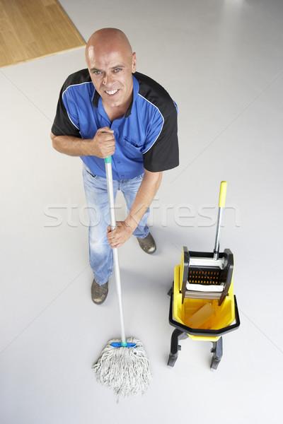 Temizleyici ofis zemin iş adam çalışma Stok fotoğraf © monkey_business