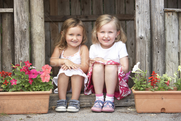 Two Young Girls Playing in Wooden House Stock photo © monkey_business