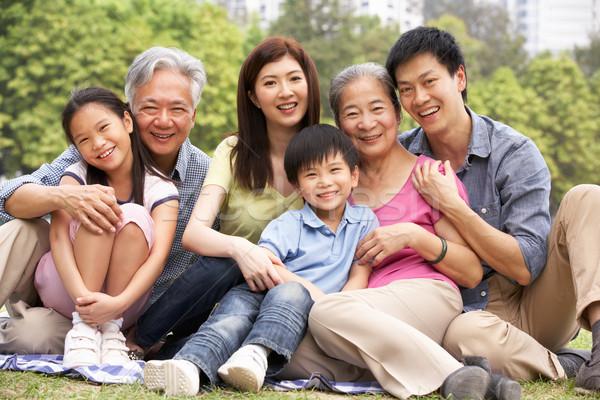 Сток-фото: портрет · китайский · семьи · расслабляющая · парка · вместе