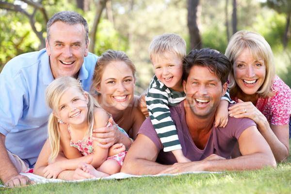 Uitgebreide familie groep ontspannen park samen vrouw Stockfoto © monkey_business