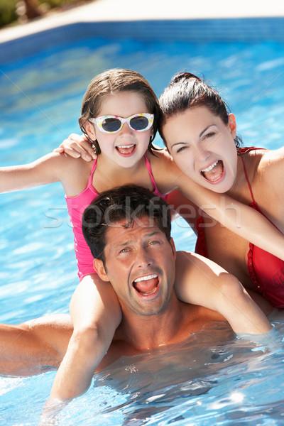 Család szórakozás úszómedence lány nyár anya Stock fotó © monkey_business