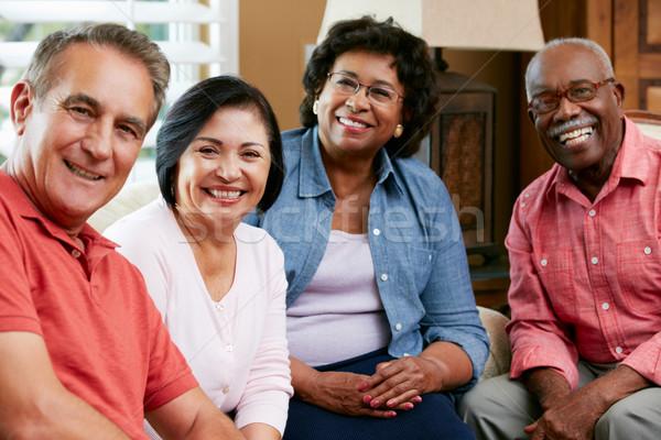 Portré idős barátok otthon együtt nő Stock fotó © monkey_business