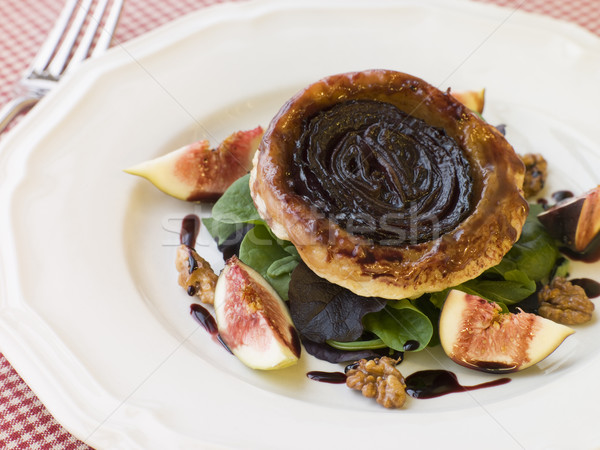 Red Onion Tarte Tatin with Walnuts Figs and Red Wine Syrup Stock photo © monkey_business