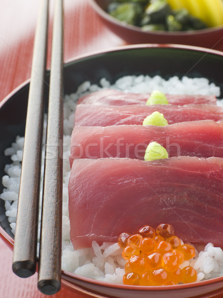 Sashimi of Yellow Fin Tuna on Rice with Salmon Roe Pickles and W Stock photo © monkey_business
