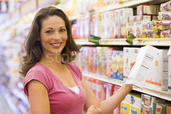 Foto stock: Mujer · comestibles · compras · supermercado · alimentos · feliz