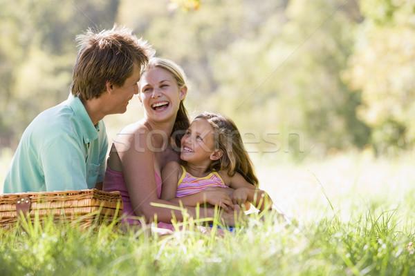 Foto d'archivio: Famiglia · parco · picnic · ridere · donna · bambino