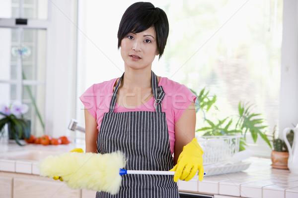 Frau halten tragen Gummihandschuhe nicht schauen Stock foto © monkey_business