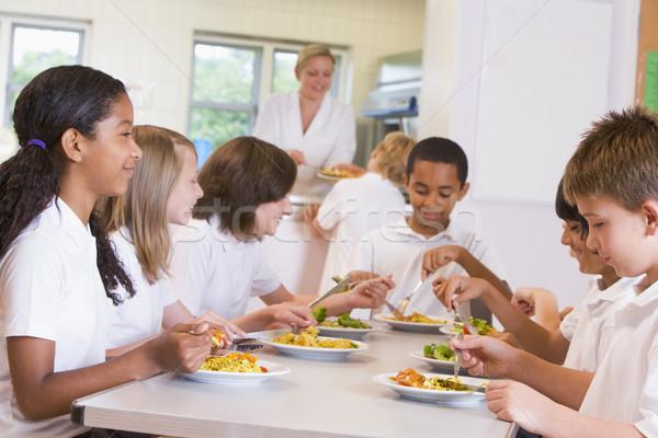 Stockfoto: Schoolkinderen · genieten · lunch · school · cafetaria · kinderen