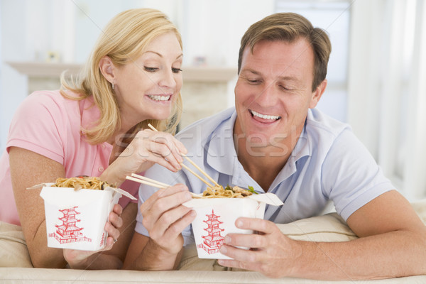Couple Eating Takeaway meal,mealtime Together Stock photo © monkey_business