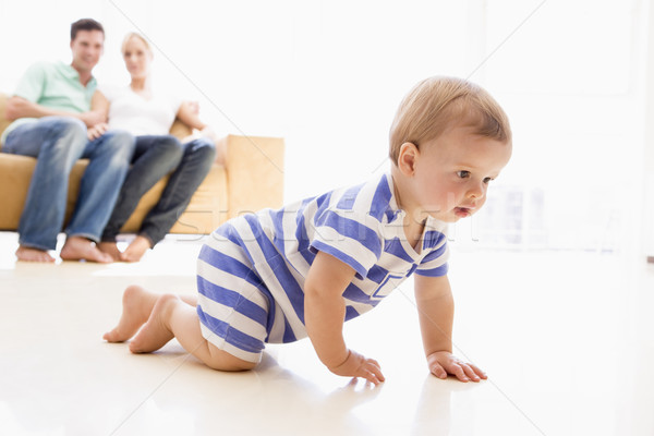 Paar woonkamer baby glimlachend man home Stockfoto © monkey_business