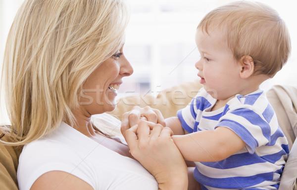 Anya nappali tart baba mosolyog lány Stock fotó © monkey_business