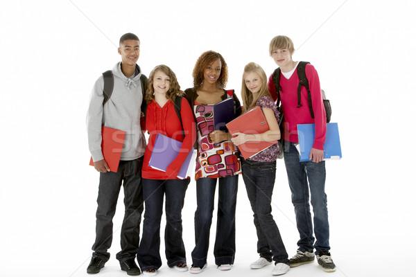 Full Length Studio Portrait Of Five Teenage Students Stock photo © monkey_business