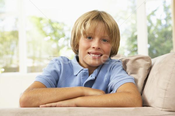 Stockfoto: Ontspannen · sofa · home · gelukkig · portret