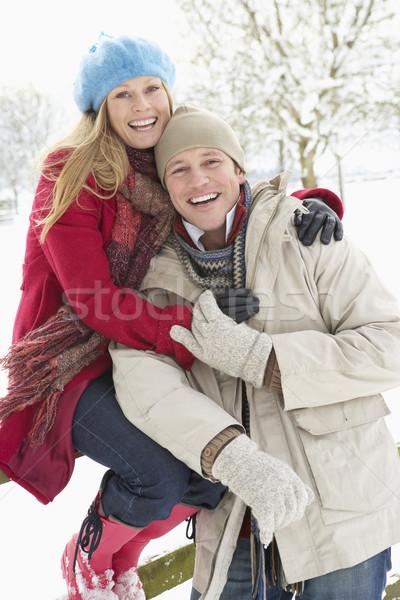 Stockfoto: Paar · permanente · buiten · landschap · man · sneeuw