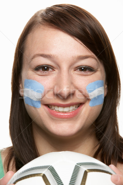 Young Female Football Fan With Argentinian Flag Painted On Face Stock photo © monkey_business