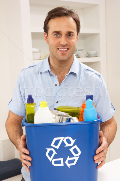 Man Holding Recyling Waste Bin At Home Stock photo © monkey_business