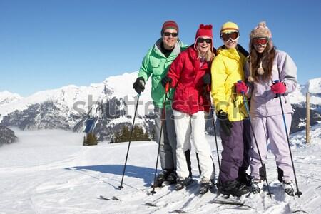 Stockfoto: Jonge · moeder · zoon · ski · vakantie · familie